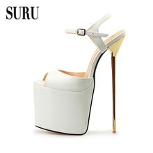 SURU super large size 15 45 46 47 48 high heel sandals platform peep toe pumps 22cm metal stilettos summer bridal shoes HSMA16(China (Mainland))