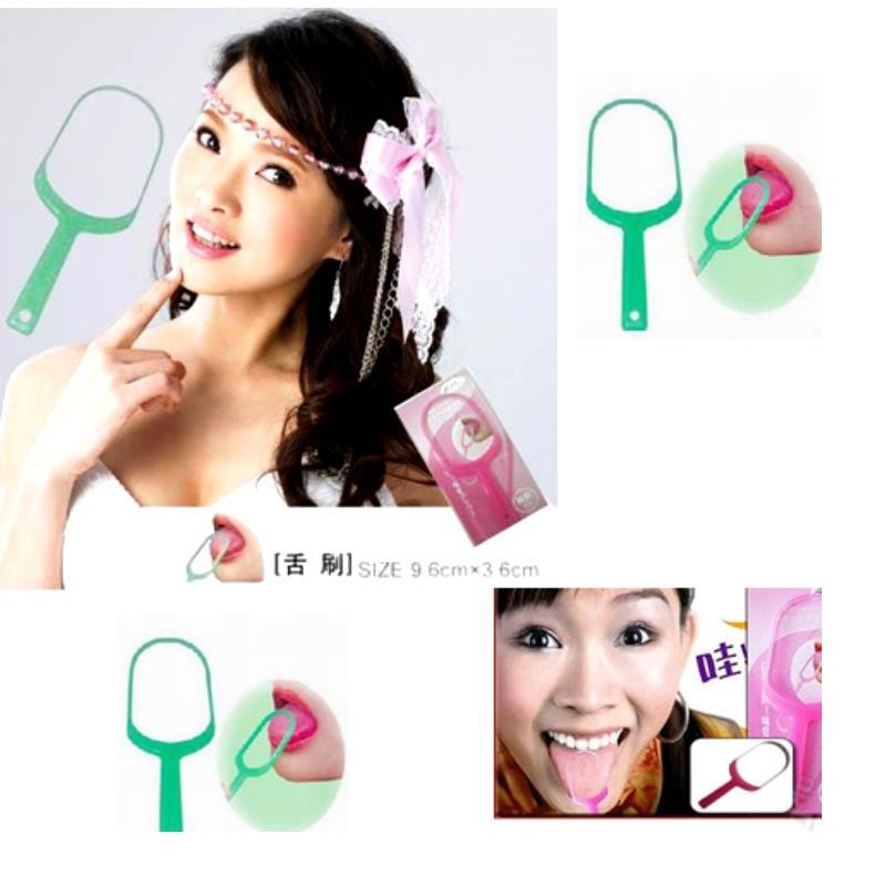 Lady makeup beauty green High Quality Tongue Cleaner for keepinh health Ready to carry(China (Mainland))