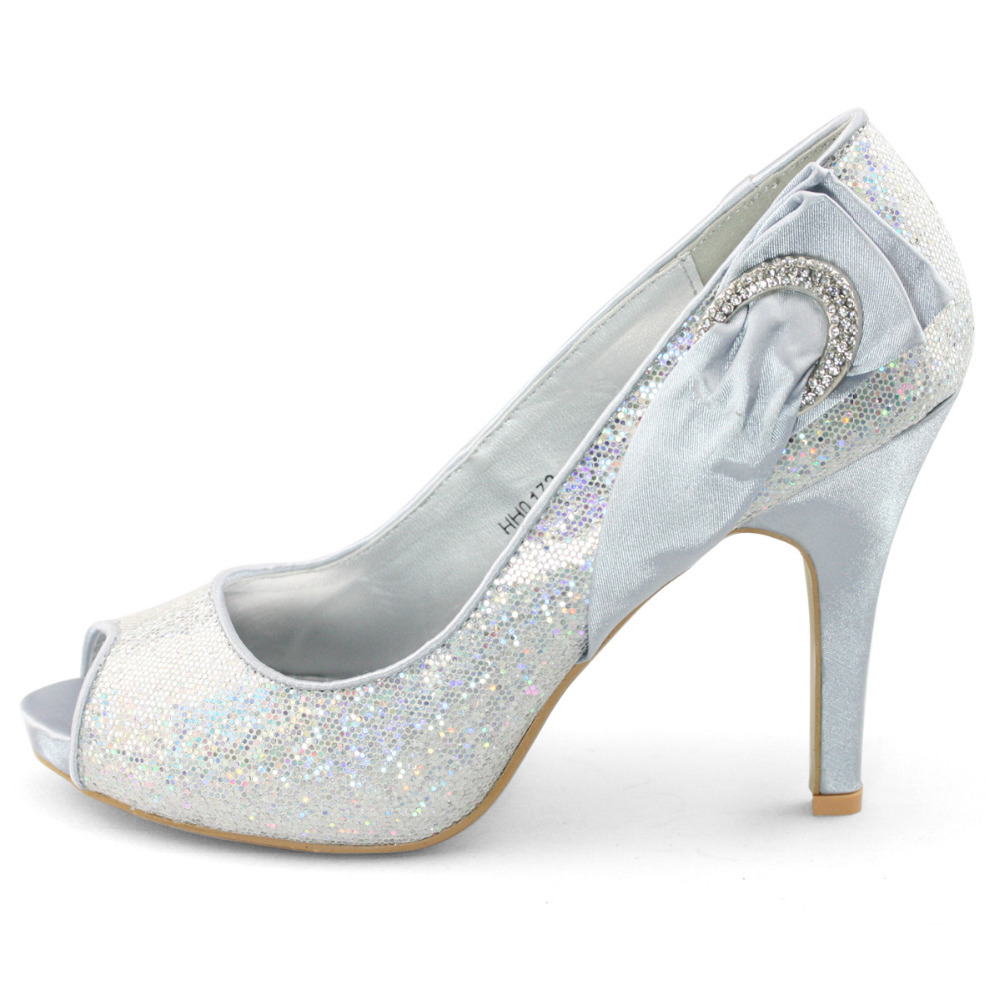 Buy Clearance Shoes SHOEZY New Glitter Silver Red Wedding Br