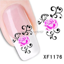 Min.order is $10 (mix order) Water Transfer Nail Art Stickers Decal Beauty Pink Rose Flowers Butterfly Design Manicure Tool