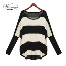 M-3XL Plus Size Spring Autumn Batwing Sleeve Striped Knitted Pullover Sweater Women Loose jumper poncho sudaderas WS-035(China (Mainland))