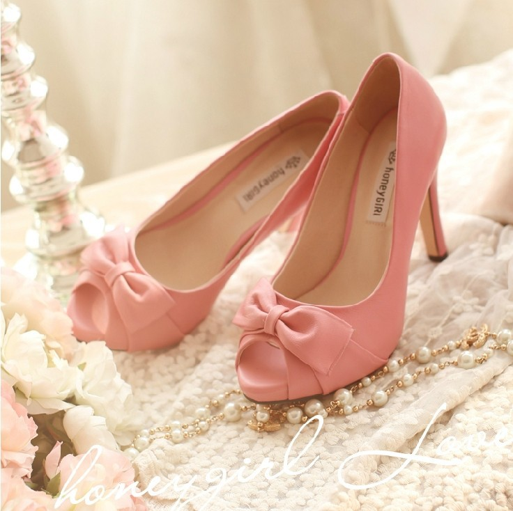 Simple Bowtie Woman Summer Spring High Heel Shoes Genuine Leather Peep Toe Fashion Dress Shoes White Bridal Wedding Shoes(China (Mainland))