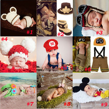 Handmade Crochet Photography Props Knitted Newborn Baby Hat Boy Girl Costume Outfit Fireman Cowboy Super Mario SG043(China (Mainland))