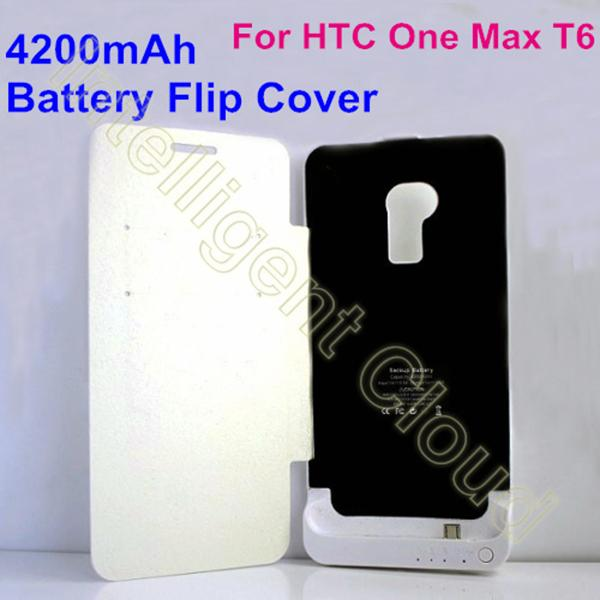 4200mah Backup Power Battery Flip Cover External Charger Pack Portable Power Bank For HTC One Max T6 8060 8088 Free Shipping(China (Mainland))