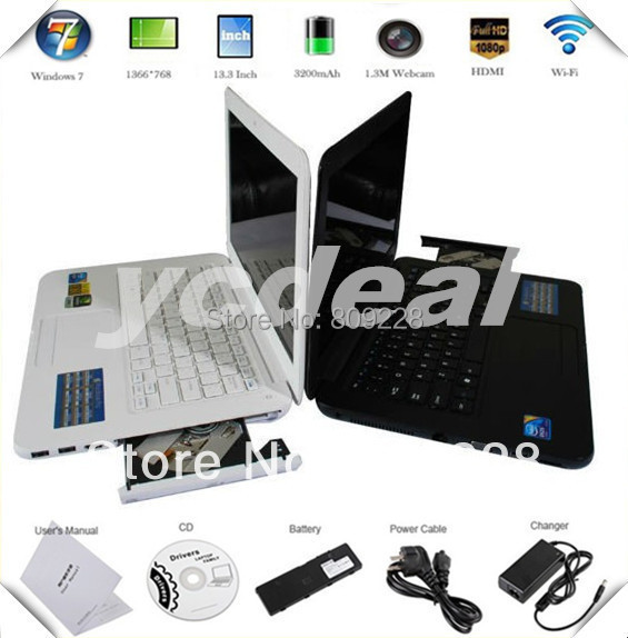 FREE shipping 13.3 inch cheap laptop in-tel atom D2500 with wifi camera DVD room computer 1G ram 160G hdd 1.86GHz thin notebook(China (Mainland))