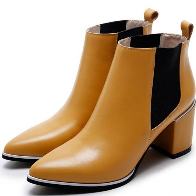 2016 Autumn brand 24.5cm size women genuine full grain leather med high heels ankle boots shoes woman pointed toe short boot(China (Mainland))