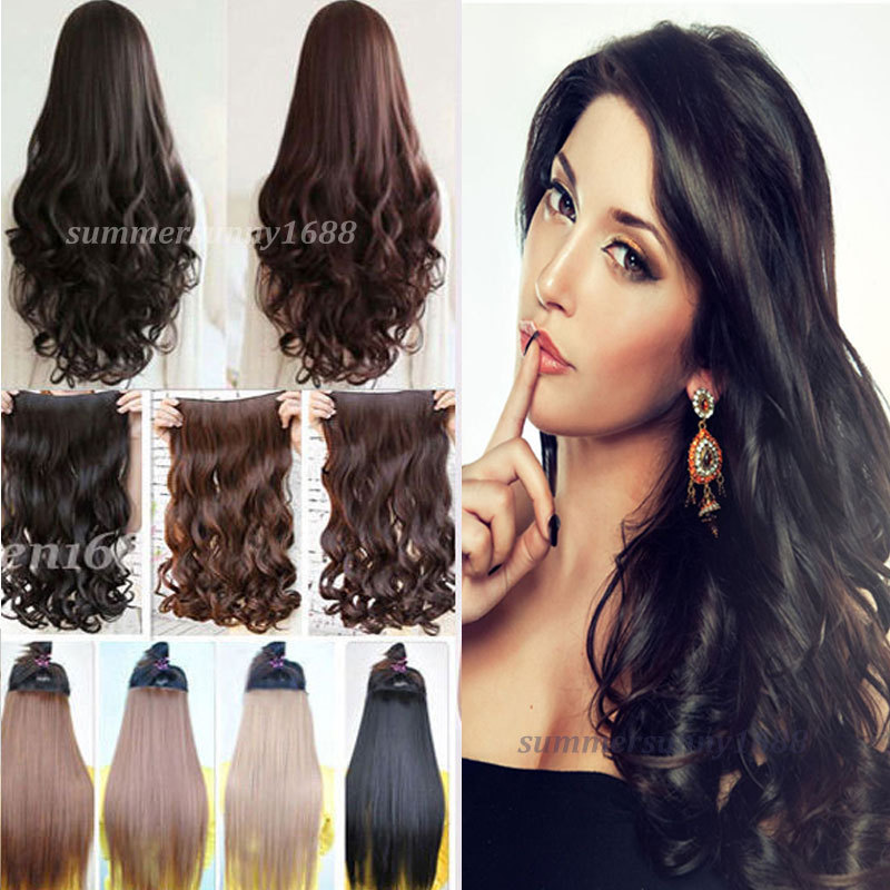 """18-28"""" inches Curly/Wavy Clip in Hair Extensions Women Lady Party Hair Extentions US UK Local shipping(China (Mainland))"""