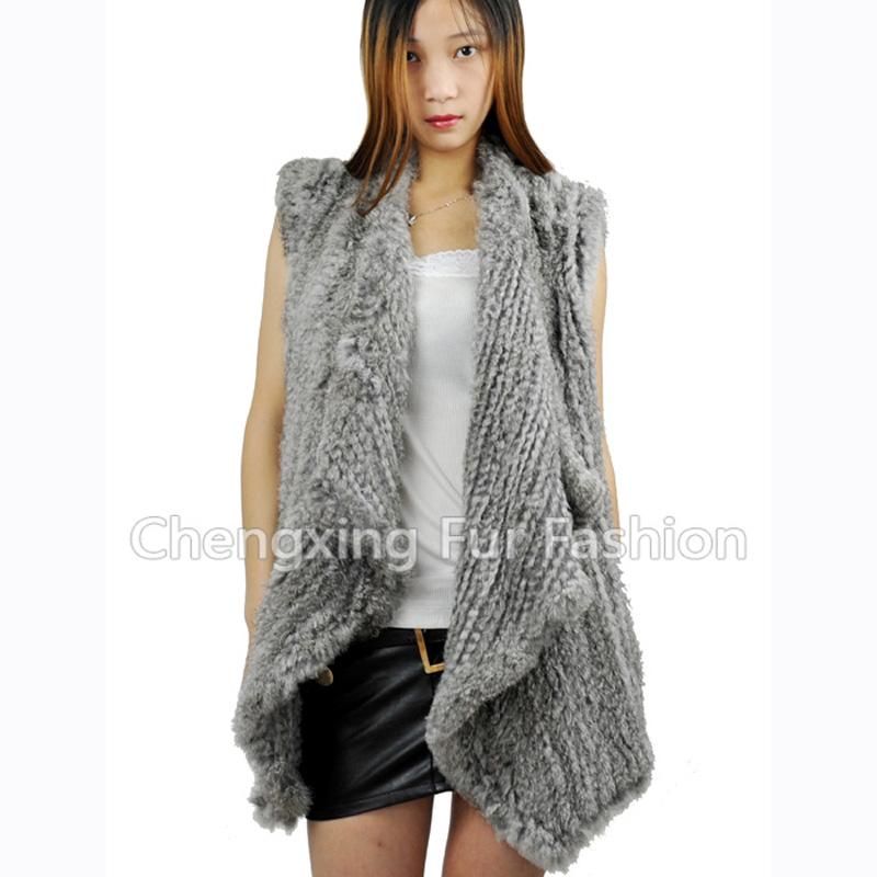 CX-G-B-202 Knitted Rabbit Fur Vest Women Fashion Fur Vest DROP SHIPPING