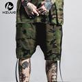 HZIJUE Hip Hop Camo Shorts Men Ribbons Camouflage Shorts Kanye 2017 Season High Street Fashion Bboy