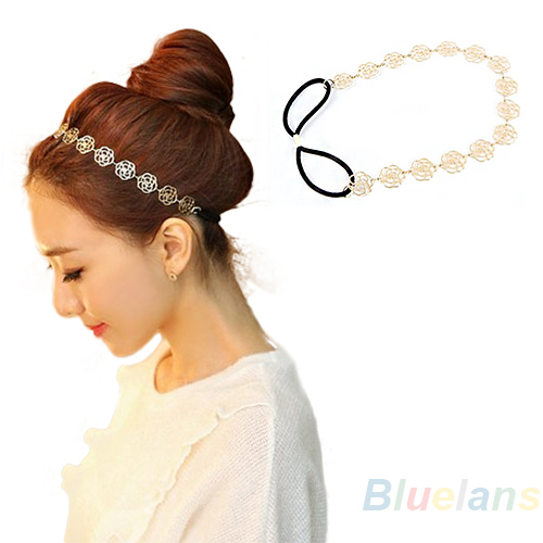 Fashion New Lovely Metallic Lady Hollow Rose Flower Elastic Hair Head Band Headband Headwear Accessories Women Garland 1HJ9(China (Mainland))