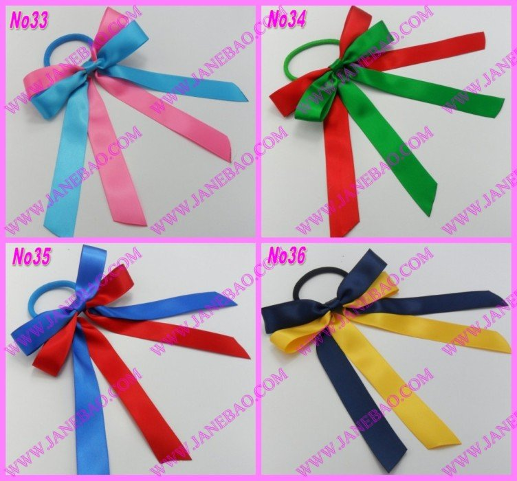 free shipping 65pcs mix color Sport Pony O Hair Bow Ponytail Streamers ponytail holder bows(China (Mainland))