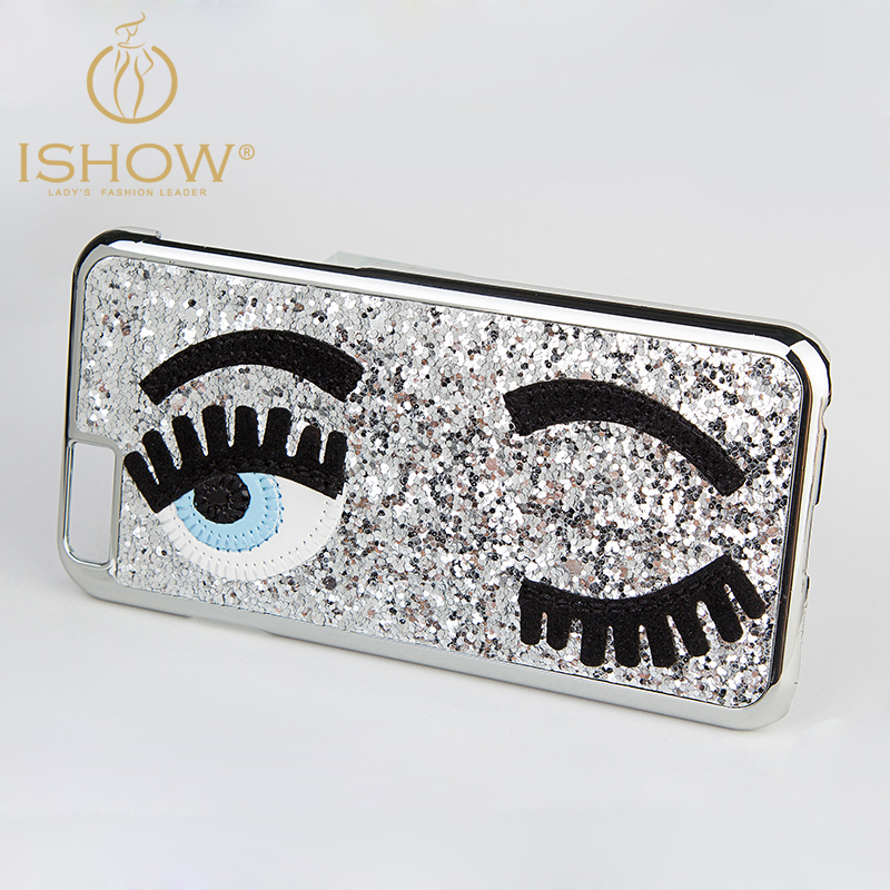 New Arrival 2015 3D Fashion Chiara Ferragni Sequins Big Blinking Eyes Case for iPhone6 Cover iPhone 6 Plus Bling Phone Case(China (Mainland))