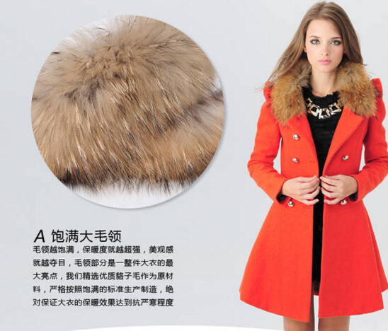 2015 winter women's Double Breasted big fur collar Plus Size Wool Coat long Winter Jackets parka coats Outerwear good quality(China (Mainland))