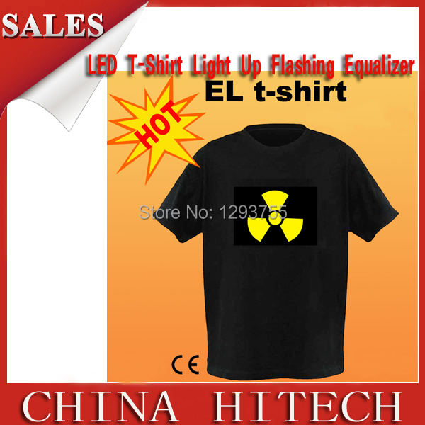 EL t shirt Flashing / Sound Activated/Music Party LED/Cotton S to XXL 5Sizes Free Shipping(China (Mainland))