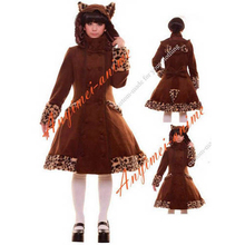 Free Shipping Gothic Lolita Punk Sweet Cat's Ear Brown Wool Coat Jacket With Cape Cosplay Costume Tailor-made