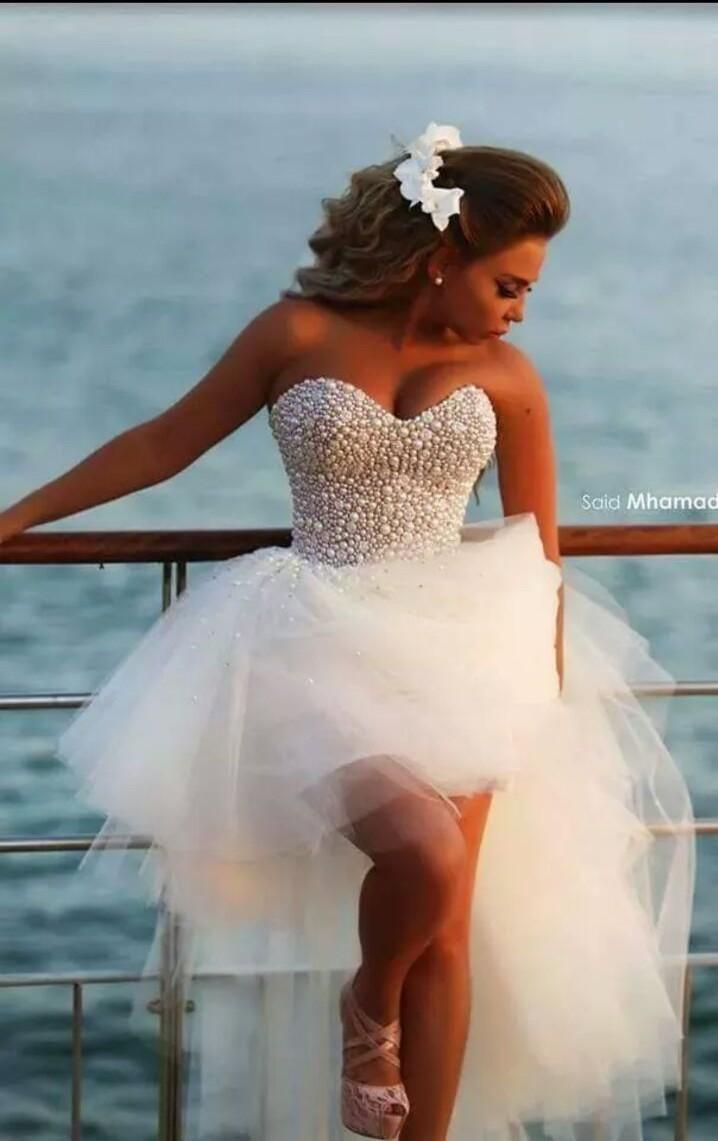 ... perlen brautkleid kurz vor langer rücken geliebte tüll brautkleid