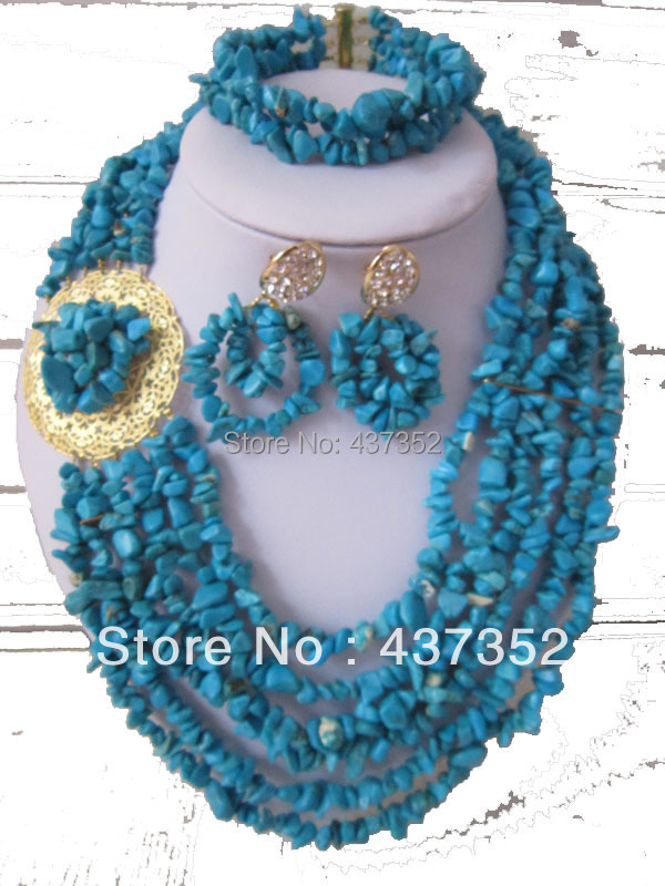 Fashion African Wedding Flower Blue Stone Turquoise Beads Bridal Jewelry Sets Necklace Bracelet And Clips Earrings SBS-001<br><br>Aliexpress