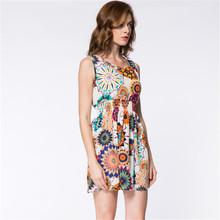Fashion Brand Women New Desigual Apricot Sleeveless Round Neck Florals Print Pleated Dress 2015 Saias Femininas Summer Clothing