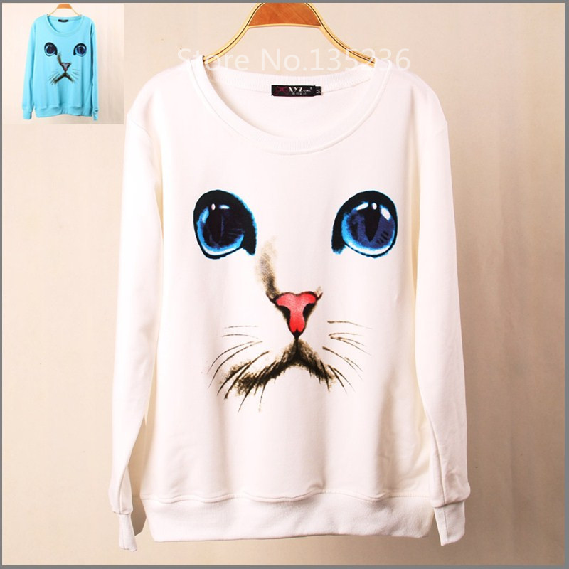 New Fashion Brand Women Cartoon Cat Printed Sweatshirt Hoody Hoodies tracksuits Pullovers Sport Suit Tops Outerwear S/M/L(China (Mainland))