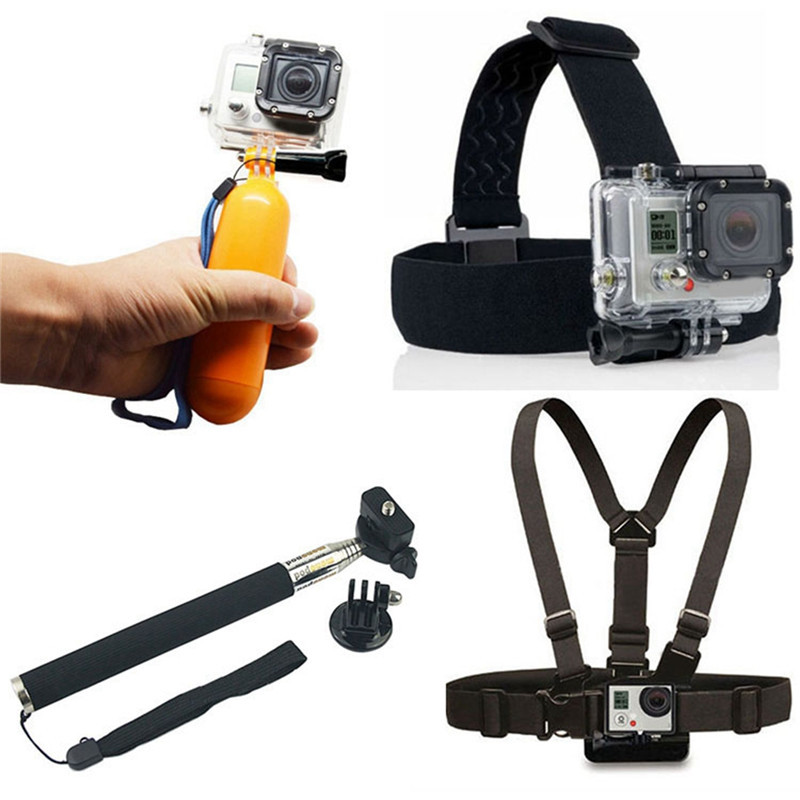 For Gopro hero 3 stick monopod gopro chest strap head strap mount bobber floating for xiaomi
