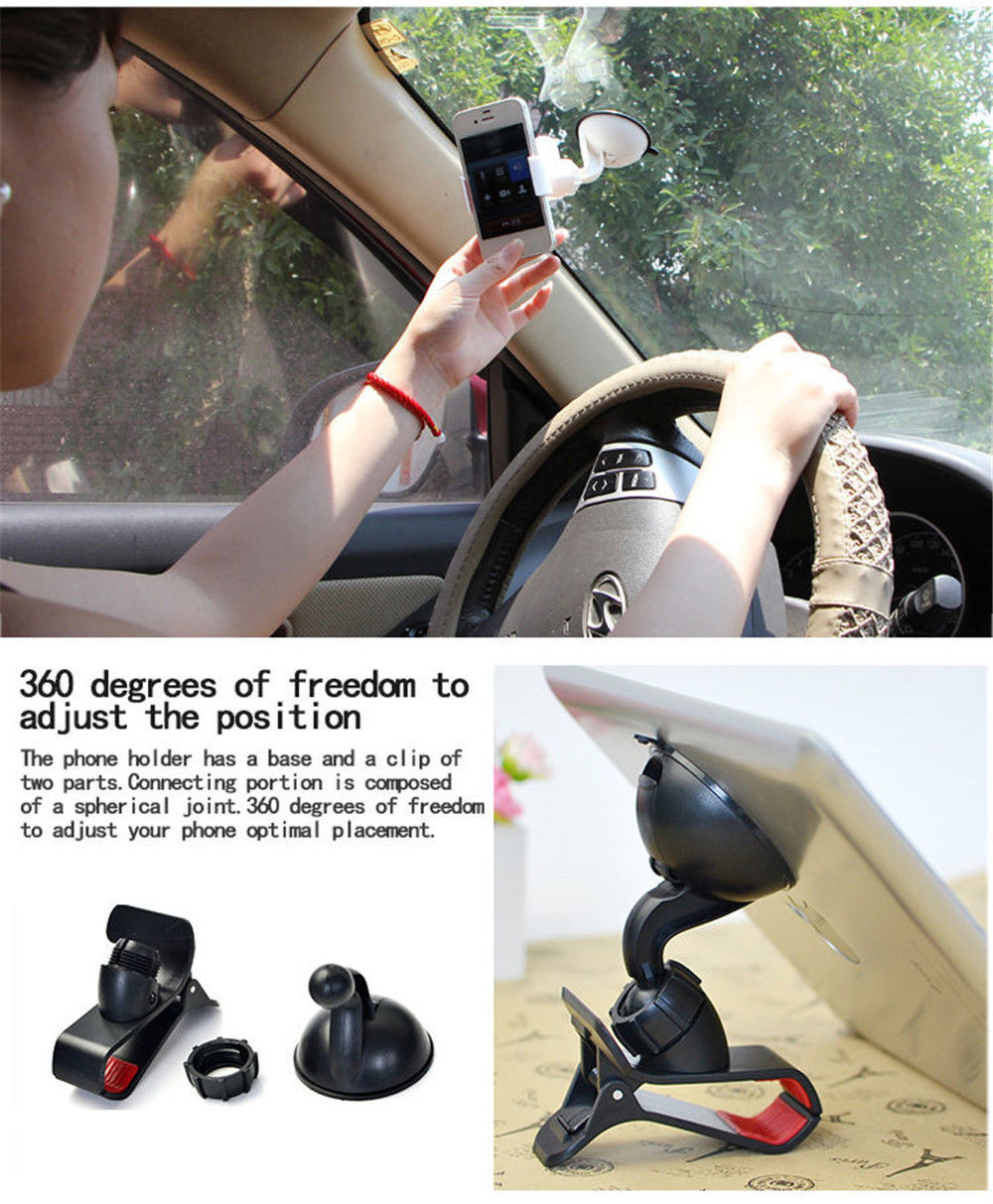 Universal Mobile Phone Holder Clip-On Grip Car Dashboard/ Windscreen Mount Holder for Samsung iPhone 4S 5 5S 6 Plus GPS PDA(China (Mainland))