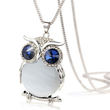 2015 High Quality Vintage Necklaces Zinc Alloy Crystal Jewelry Owl Necklace Pendant Long Popcorn Chain Necklace