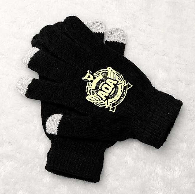 Fashion AOA printing black luminous gloves korean style touch screen winter gloves for men women unisex(China (Mainland))