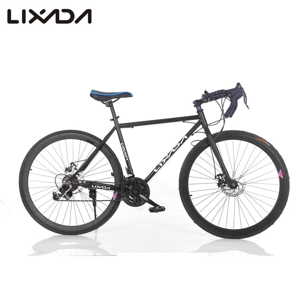 Lixada Carbon Bicycles 700C Road Bike Front & Rear Disc Brakes Groupset Carbon Steel Wheelset/Seatpost/Fork 21 Speed Bicicleta(China (Mainland))
