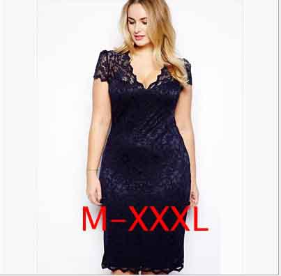 Plus Size 2Xl 3Xl Sexy Women Dress New Lace Hollow Out deep V Neck Blue Dresses Female Club Large Big Size for Women Clothes(China (Mainland))