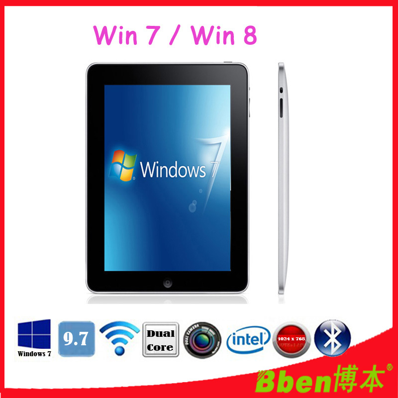 Free shipping ! 9.7 inch Intel CPU Multi touch game tablet pc Windows 7 Tablet pc 3G phone tablet pc dual core tablet(China (Mainland))