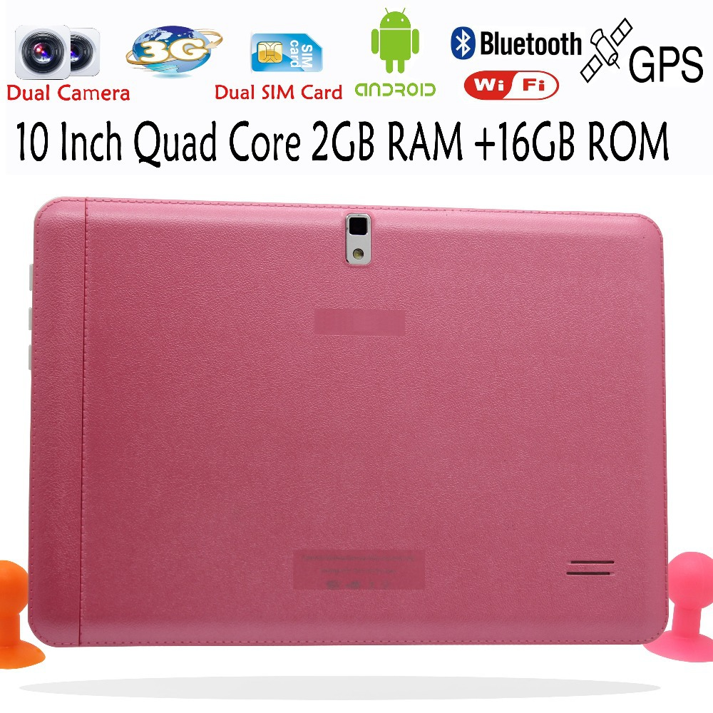 10 Inch 2GB 16GB Quad Core Tablet Pc Dual Camera Dual SIM Card 3G Phone Call Pad Pc 2G+16G Pink Edition Gift For Lady and Girls