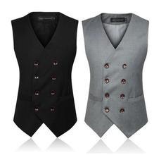Men's Clothing  British Style Slim Colete Masculino Cotton Double Breasted Sleeveless Jacket Waistcoat Men Suit Vest(China (Mainland))