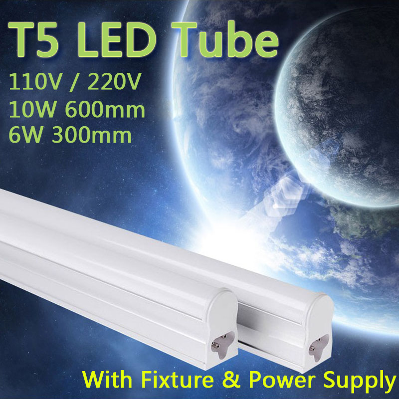 PVC Plastic 10W 6W LED Tube T5 Light 110V 220V 240V 60cm 30cm led T5 lamp led wall lamp Warm Cold White led fluorescent T5 neon(China (Mainland))