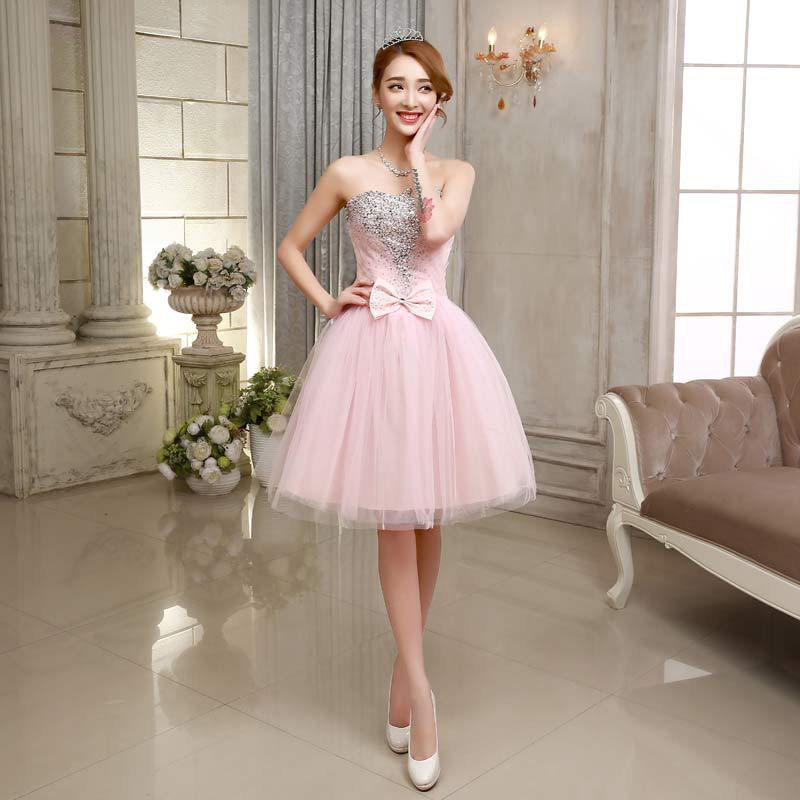Customized short crystal pink wedding dress 2015 cheap for Plus size pink wedding dresses