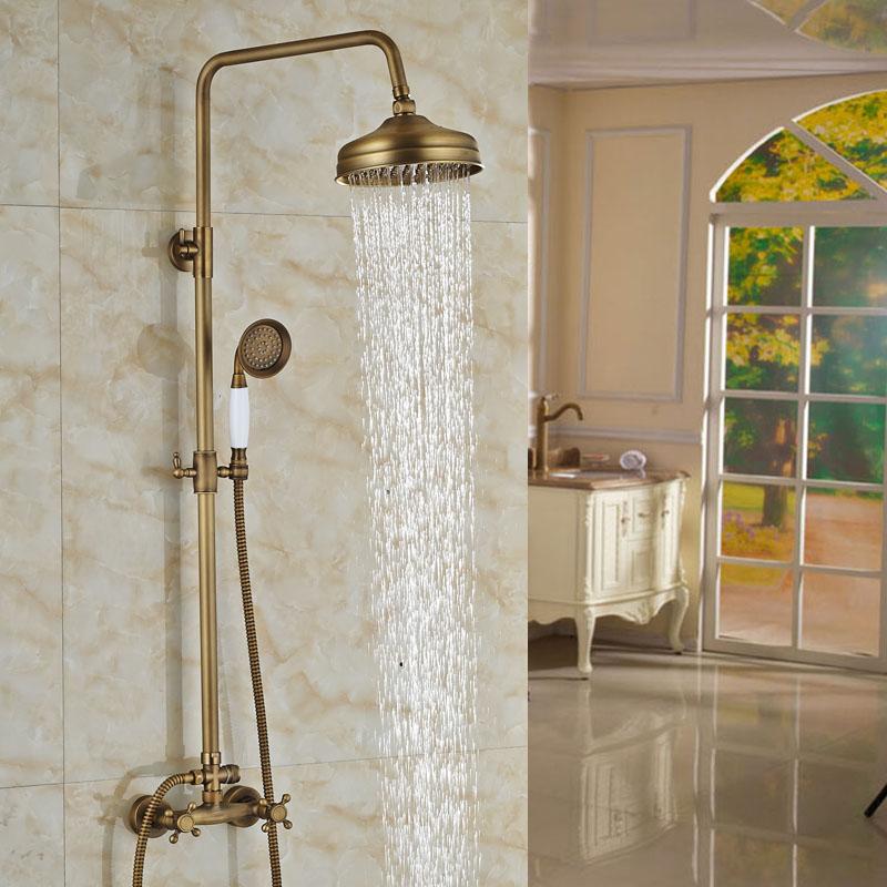 Buy Luxury Adjust Height Shower Set Faucet 8 Inch Brass Rain