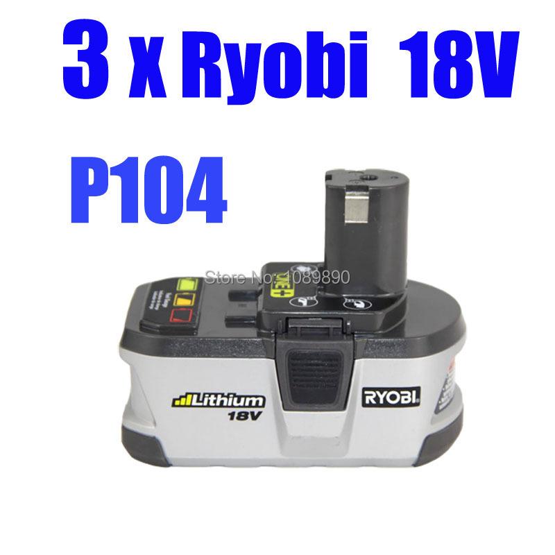 wholesale 3 pack ryobi 18v 2 4ah lithium battery p104 one. Black Bedroom Furniture Sets. Home Design Ideas