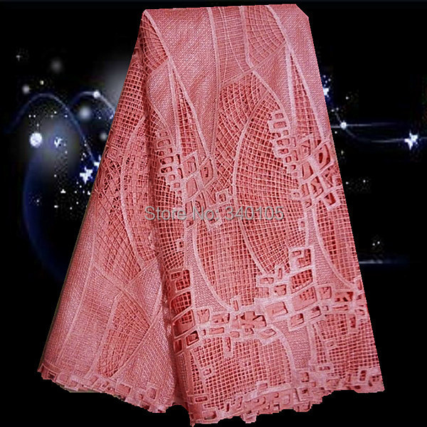 (5yards/lot)GS14-3 peach pink,african guipure lace fabric ,african guipure lace water soluble chemical lace fabric(China (Mainland))