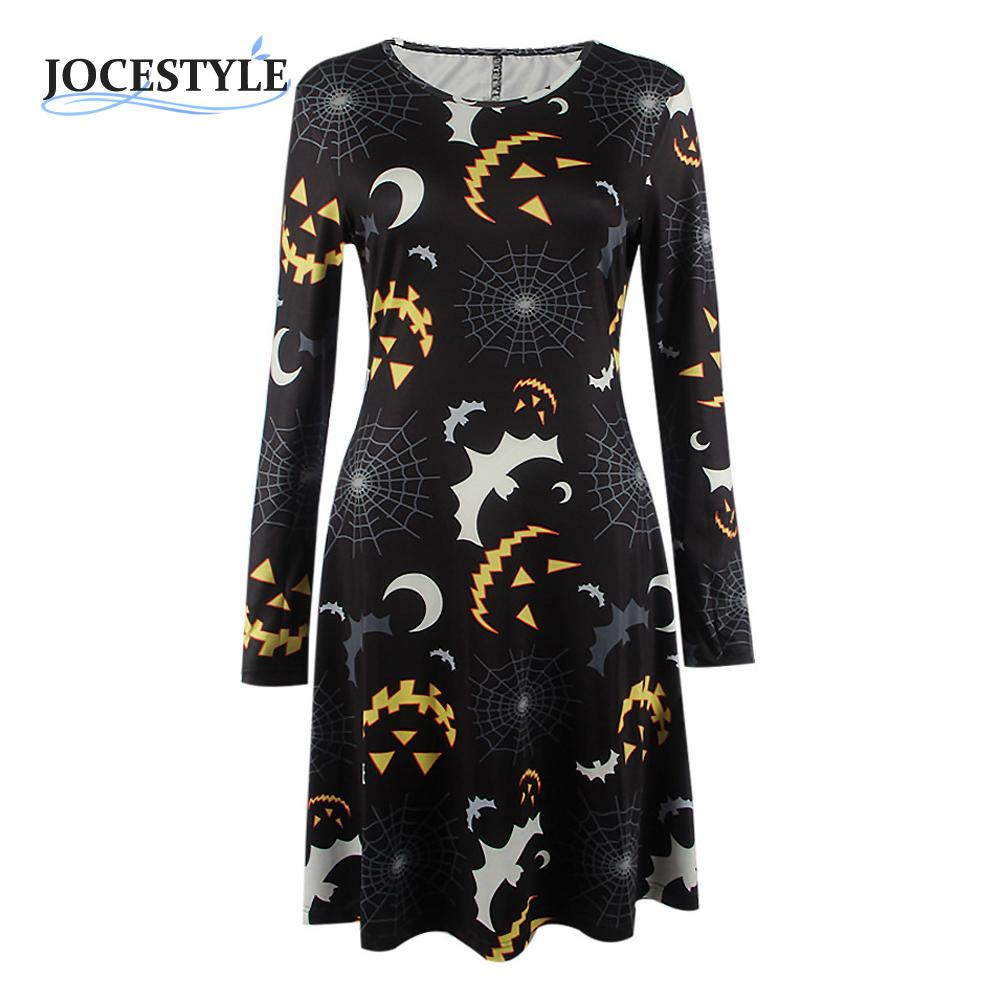 Ladies Halloween Christmas Dress Prints Swing Skater Long Sleeve Casual Festival Party Dresses Novelty Fashion Cartoon Clothing(China (Mainland))
