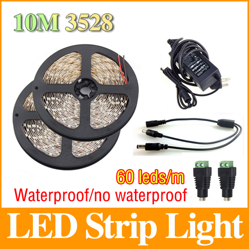 10M 3528 SMD Flexible LED Strip Waterproof/Non-Waterproof 12V 60Led/m+5A Power Supply White/Warm white/Red//Green/Blue LS47(China (Mainland))