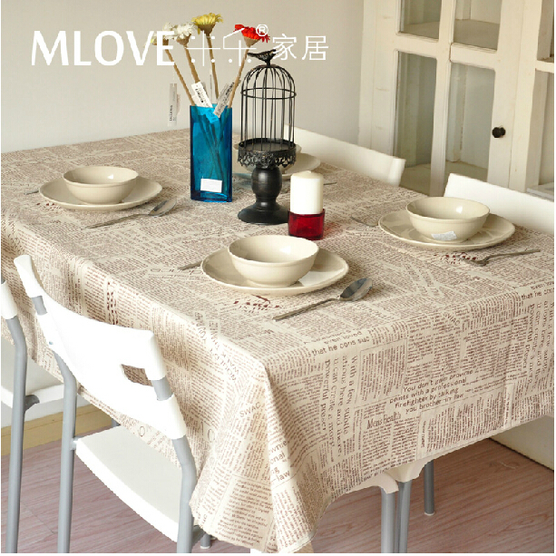 Gray Linen Fabric Coffee Color English Newspaper Linen tablecloth dining table cloth Home Decoration Wedding Decoration(China (Mainland))