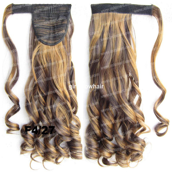 Heat Resistance Synthetic Wrap Ponytail Curl wavy Around Invisible HairPiece Pop Pony F4/27,BIP888, 22inches 90g 1pc(China (Mainland))