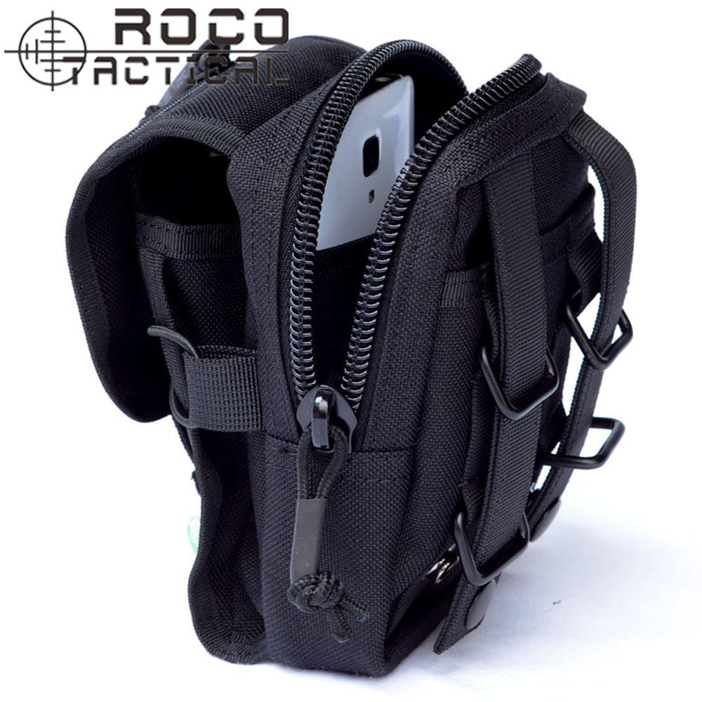 "Mens Dual Zip Tactical Waist Bags Molle Mini Tactical Waist Belt Pack 5"" Tactical Phone Bag Black M1(China (Mainland))"