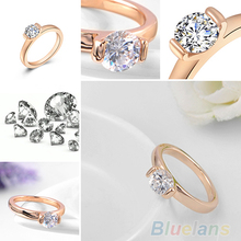 Women s 9K Rose Gold Plated Austrian Crystal Wedding Party Jewelry Ring 08V1