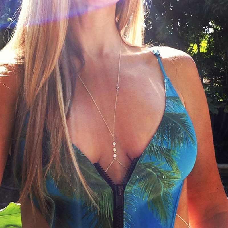 1PCS Free Shipping 2015 Fashion Gold/Silver Bikini Crossover Waist Belly Harness Body Chain Necklace Jewelry(China (Mainland))