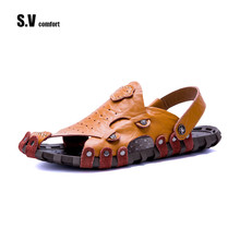 Buy SV Comfort Brand Sandals Leather Sandals Summer Shoes Sandalias Flats Casual Shoe Flip Flops Fashion Beach Slipper for $27.86 in AliExpress store