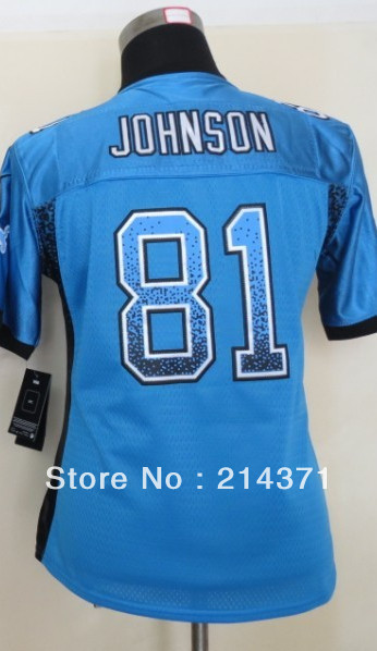 High Quality Wholesale 81 Calvin Johnson Women's Drift Fashion Blue Elite Football Jersey size: S-XXL Free Shipping 2013(China (Mainland))