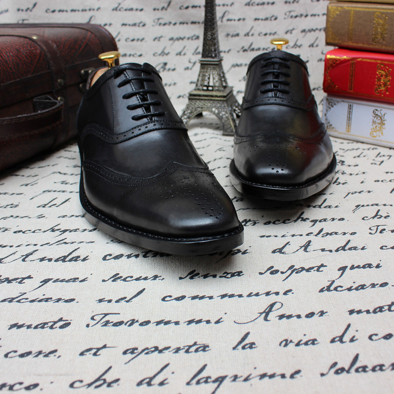 SKP105 Custom Made Goodyear 100% Black Genuine Leather Handmade Oxfords Shoes, Mens Handcraft Brogue Shoes Large/Plus Size<br><br>Aliexpress