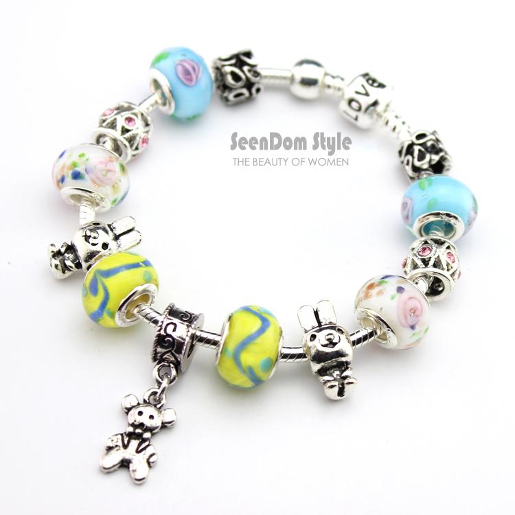 925 Silver Lovely Bear Dangle Rabbit Charms European Flower Murano Beads Pulseras Love Clasp Bracelet + Gift Pouch PBS143 - SeenDom & Jewelry store