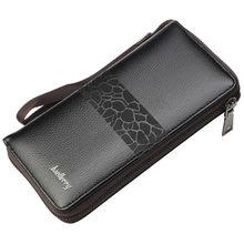 Длинный кожаный кошелек на молнии для мужчин, Cuzdan, роскошный клатч для телефона, сумка для денег, большие мужские бумажники, кошелек для карт...(China)