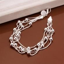 2015 Bracelet Silver Color Bracelet Fashion Jewelry Bracelet Five-line Light Bead(China (Mainland))